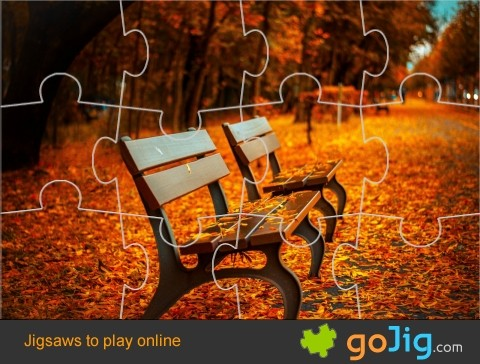 Jigsaw : Park Bench in Autumn